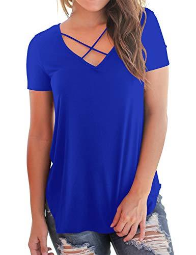 Women's Summer Cross Front Tops Loose Deep V Neck Junior Girls T Shirts Blue L