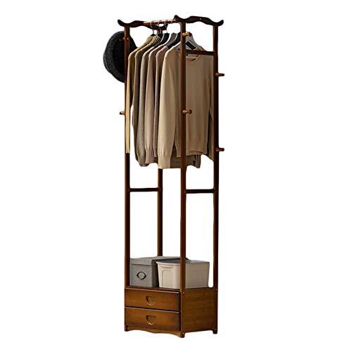 LM-Coat rack XINGLL Percheros Pie Perchero, Madera con Cajones, Soporte Carga Fuerte, Esquinas del Pasillo Entrada Dormitorio Hogar para Colgar Ropa Sombreros Almacenamiento Bolsos
