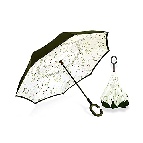 YUEWEIWEI Paraguas invertido de Doble Capa, Paraguas, Viento y protección UV, Gran Paraguas autoportante, sombrilla Parasol, Paraguas de automóviles