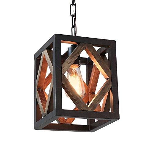 "Eumyviv 1 Light Metal Frame Wood Farmhouse Kitchen Pendant Light, 7.8""L Industrial Rustic Chandelier Lamp Vintage Edison Ceiling Island Lighting Fixture, Brown & Black(P0050)"