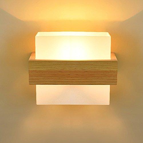 HJZY Moderno semplice muro in legno massello lampada applique con paralume in vetro caldo personalità camera da letto camera soggiorno comodino corridoio balcone quercia singola testa parete luce