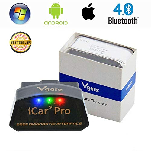 vgate iCar Pro Bluetooth 4.0 BLE Automotive Engine Fault Coder Reader OBD2 Scanner Car OBDII Diagnostic Tool Work for iOS iPhone iPad Android Compatible ELM327 2.1