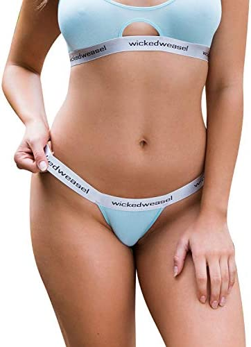 Wicked Weasel Sexy 665 Bamboo Thong Panties Womens Lingerie X Small Misty Blue product image
