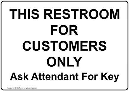 Adesivo in vinile con scritta in inglese'Restroom Public' e'Private Property Notice Decal Lable, 17,8 x 12,7 cm, con testo in inglese, bianco