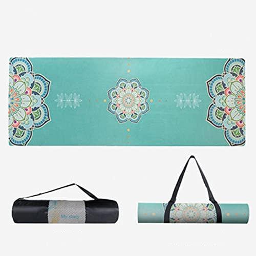 Estera de Yoga de Caucho Natural de Gamuza Suave Plegable Antideslizante de 6 mm 183 cm x 68 cm x 80 cm Con Fuerte Resistencia Al Desgarro y Agarre, Es Una Opción Ideal Para Los Practicantes de Yoga.