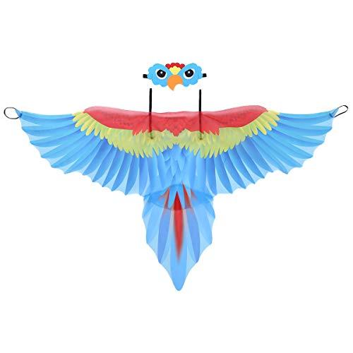 YiZYiF Kinder Jungen Mädchen Vogel Kostüm Papagei Flügel Umhang mit Augenmaske Weihnachten Cosplay Karneval Fasching Maskerade Verkleiden Set Blau One Size