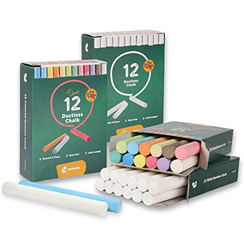 KEDUDES - 48 Chalkboard Chalk - Non-Toxic Chalk for Chalkboard - 24 Pack of Dustless White Chalk - 24 pack of Assorted Colored Chalk - Premium Kids Chalk - Great for Classroom, Home, and Cafe