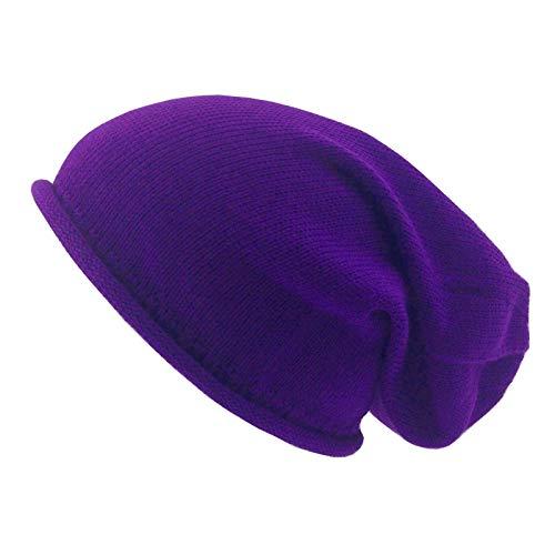 xpaccessories Beanie-Mütze für Erwachsene, 100 {752014ace26eae5e71e9e8d4dbe6a7a0c6a7da288d87dfc54f2acb5674134d9b} Baumwolle, einfarbig, leicht, gestrickt, Slouchie Gr. Einheitsgröße, violett