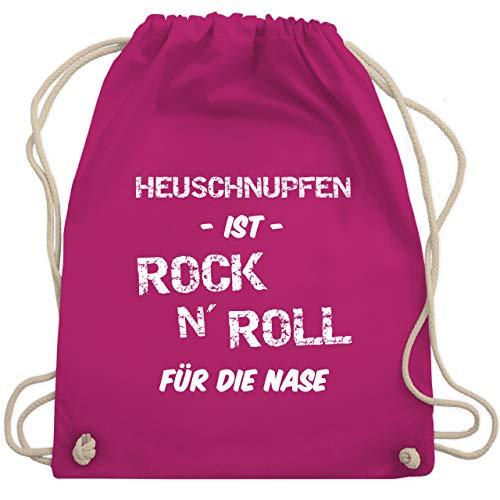 Shirtracer Sprüche - Heuschnupfen ist Rock n\' Roll für die Nase - Unisize - Fuchsia - rock n roll - WM110 - Turnbeutel und Stoffbeutel aus Baumwolle