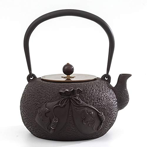 Cast Iron Teapot Cast Iron Bubble Tea Brown 1.4 Liter Iron Teapot Boiled Water Tea Set Cast Iron Pot Iron Pot Teapot Best Gift (Color : Pig iron, Size : 22.3x10.5x9cm)