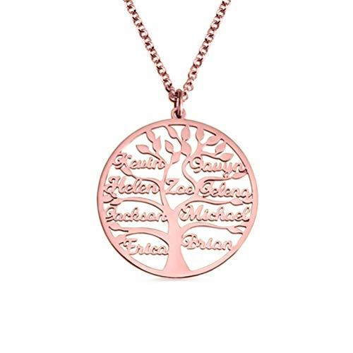 Yanday Damen Halskette Custom Name Stammbaum Halskette 925 Sterling Silber Mutter Personalisierte Halskette Geschenk Für Frauen(Roségold 20)