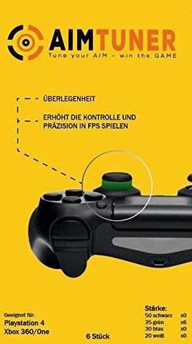 AIMTUNER 6 Grüne Schaumstoff-Ringe zur Verbesserung deiner Zielsicherheit - PS4 Aim Assistance Stoßdämpfer - Zielhilfe für FPS Spiele - Analogstick Tuner für Playstation und Xbox One & 360