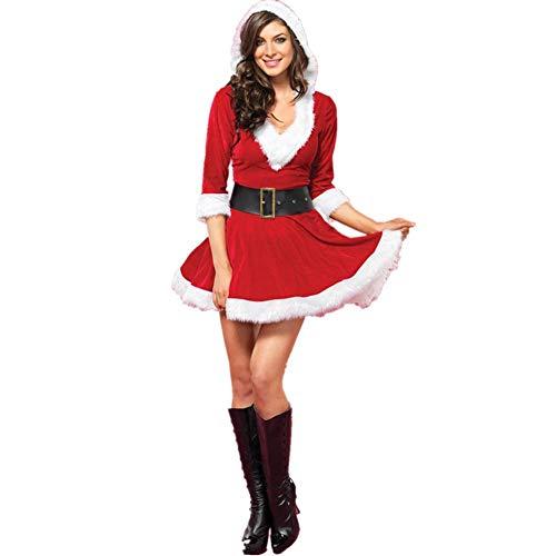 Santa Claus Kostüm Damen Miss Santa Kleid Kostüm Mit Kapuze Und Gürtel Nikolaus Damen Weihnachten Für Damen Zubehör Weihnachten Karneval