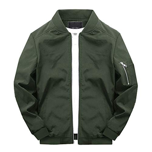 TOTNMC Men's Jacket Activewear Lightweight Softshell Classic Bomber Jacket Versity Coat Army Green