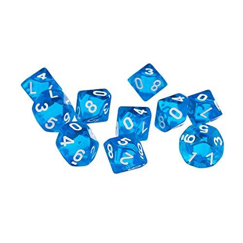 Yourandoll 10 STÜCKE Polyedrische Würfel D10 (0-9) Dice Würfel Spielwürfel for DND RPG Dungeons & Dragons Brettspiel Kartenspiel (Blau)