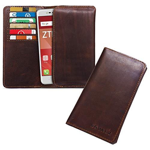 ROYALZ Lederhülle für ZTE Blade V8 Mini Schutztasche Cover Etui Brieftasche Portemonnaie Ledertasche Kartenfach Tasche Leder, Farbe:Cognac Braun