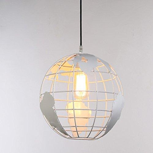 Globus Form hängende Globus Licht Anhänger Eisen retro Pendelleuchte Kronleuchter Hänge- & Pendelleuchten Innenbeleuchtung Deckenbeleuchtung (Weiß: 20CM)