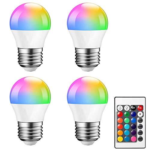Noobibaba Bombillas LED de cambio de color con mando a distancia, 10 W, A60, E27, base media, para Halloween, decoración de Navidad, hogar, bar, fiesta, pub mood, lighting, 100-265 V, 4 unidades
