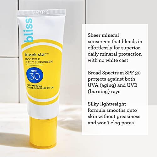 Bliss Block Star Daily Sunscreen | SPF 30 | 100% Mineral Sunscreen | Non-Greasy & Non-Irritating | Vegan | 1.7 fl oz