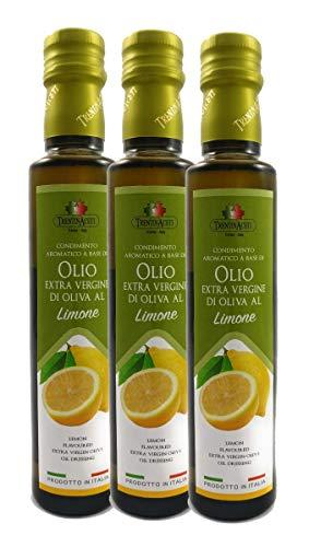 Extra Natives Olivenöl mit natürlichen Zitronenaroma - 3x250 ml - Italienisches Zitronen Olivenöl in höchster Qualität - TrentinAceti - kaltgepresst