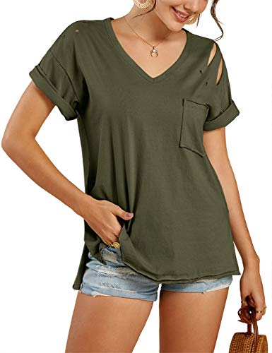 Imily Bela Womens Short Sleeve V Neck Ripped T Shirts Summer Casual Side Slit Tee with Pocket Army Green