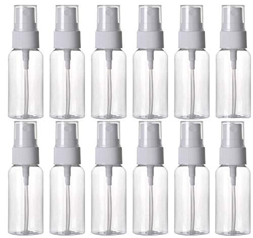 HOSL 12Pack 1 Ounce Empty Spray Bottles for Cleaning Solution Travel bottles Refillable Fine Mist Perfume Sprayer Bottle Cosmetic Atomizers PET Spray Bottles Pump(Clear)