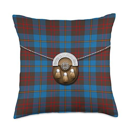 The Celtic Flame Plaid Tartans Scottish Clan Cameron Hunting Tartan Plaid With Sporran Throw Pillow, 18x18, Multicolor