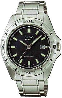 ساعة كاسيو رجالي MTP-1244D ستانلس ستيل مينا أسود بعلامات إنارة ليلية و تاريخ