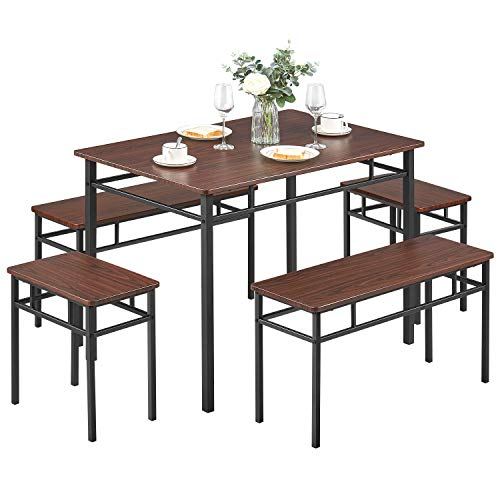 Kealive Dining Table Set with bench 5 Pieces Modern Wood Table Top 2 Benches and 2 stools,Dining room Furniture Set 43.3''L x 27.6''W x 29.5''H Metal Frame, Brown