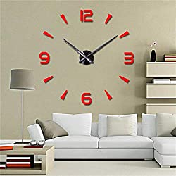 FASHION in THE CITY 3D DIY Wall Clock Mordern Design Mirror Surface Home Decor Murale Horloge (Red)