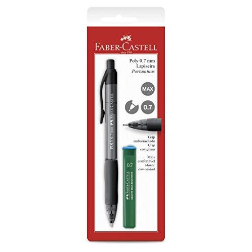 Lapiseira Poly 0.7mm com Borracha + Grafites, Faber-Castell, SM/07POLYP, Preta