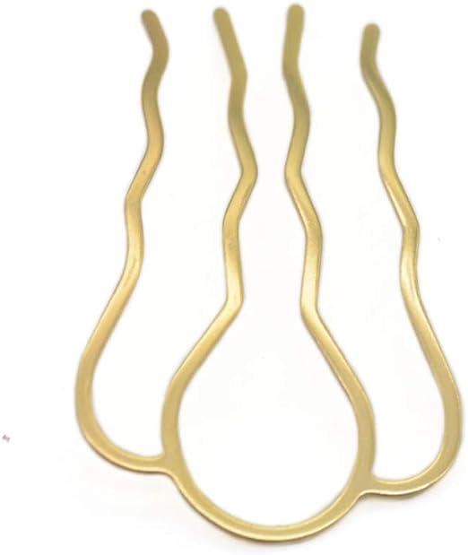 Metal Hair Pin Gold Hair Slide Brass Hair Fork 1Piece Thick Hair Pin U-Shape Hair Clips Hair Bun Holder