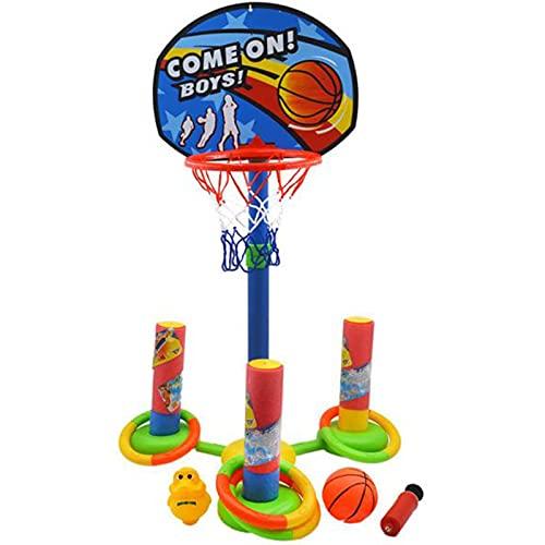 JINGLING Flotador de aros, juego de baloncesto, juego de baloncesto, juego de waterpolo hinchable, juego de lanzamiento de anillo, juguetes de agua flotantes