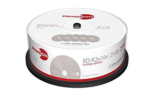 PRIMEON 2761308 25GB BD-R Disco BLU-Ray Lectura/Escritura (BD) - BD-RE vírgenes (BD-R, 25 GB, 10x, Caja para Pastel, 25)