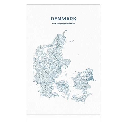 SpringFlower Muursticker Denemarken Kaart Premium Art Print Decoratie Poster Ontwerp Moderne Mural Muur Aangepast Product voor Woonkamer, Slaapkamer, Office Wall Art Kleefmateriaal