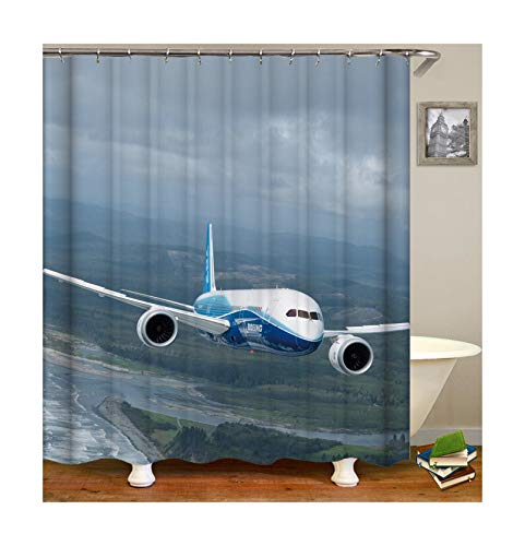 Aeici Duschvorhang 120X180 cm Flugzeug Polyester 3D Duschvorhang Grau Duschvorhang für Badezimmer