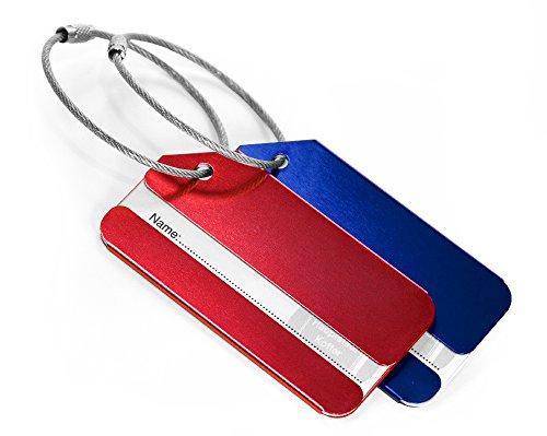 HAUPTSTADTKOFFER – Kofferanhänger im 2er Set inklusive Adressfeld I Kofferschild aus eloxiertem Aluminium I Gepäckschild für Koffer Tasche Rucksack, 8 cm x 4,3 cm | Rot & Blau