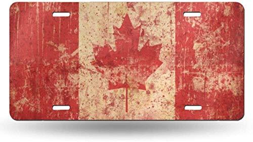 FLPISZ Kanada Flag Symbol Vintage Hintergrund Metall Nummernschild Cool Aluminium Neuheit Platte Custom Car Nummernschild Bunte Autoabdeckung Front Dekor Platte 6 * 12 Zoll