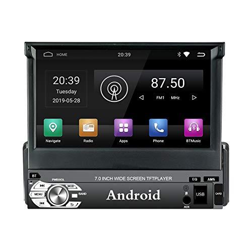 EZoneTronics Android 9.0 Flip Out 1Din Autoradio Stereo 7 Zoll Kapazitiver Touchscreen High Definition 1024x600 GPS Navigation Bluetooth EQ/USB/SD/AM/FM/RDS Spieler 2G RAM + 32G ROM