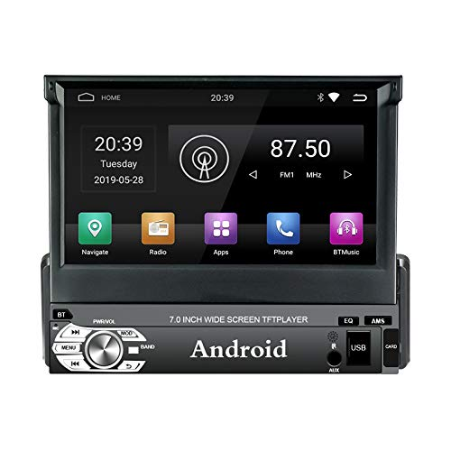 EZoneTronics Android 9.0 Flip Out 1Din Autoradio Stereo 7 Zoll Kapazitiver Touchscreen High Definition 1024x600 GPS Navigation Bluetooth WiFi/USB/SD/AM/FM/RDS Spieler 1G RAM + 16G ROM