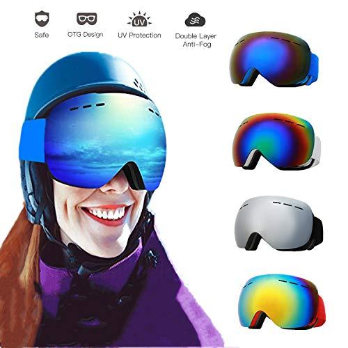 FINGER TEN Skibrille Herren Damen Jugendliche Snowboardbrille Schneebrille Doppel-Objektiv Zweischichtiger Anti-Fog 100% UV-Schutz Für Brillenträger Verspiegelt Schutzbrillen (Red Frame Red Lens)