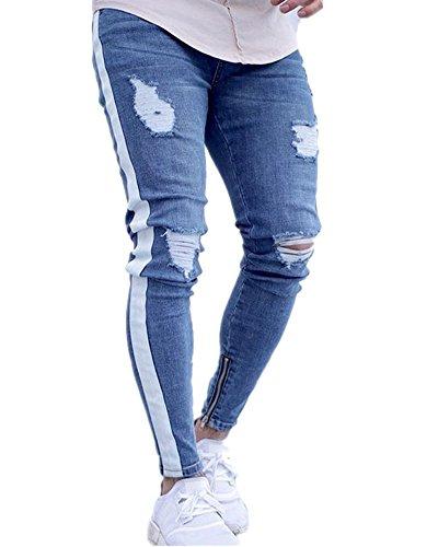 PengGengA Herren Slim-Fit Denim Destroyed-Look Zerrissen Löcher Bikerjeans Skinny Jeans Hose Mit Stretch Weiß S