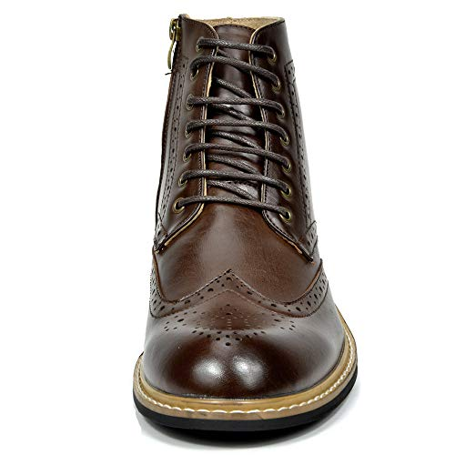 Bruno Marc Men's Bergen-01 Dark Brown Leather Lined Oxfords Dress Ankle Boots – 9 M US
