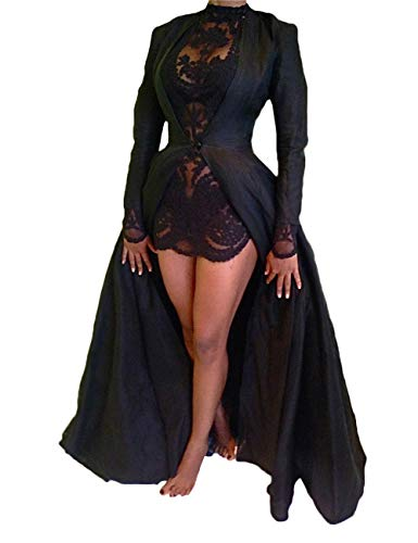 xxxiticat Women's Sexy 2Pcs Gothic Lace Sheer Jacket Long Dress Gown Party Halloween Costume Outfit(BL,XL) Black