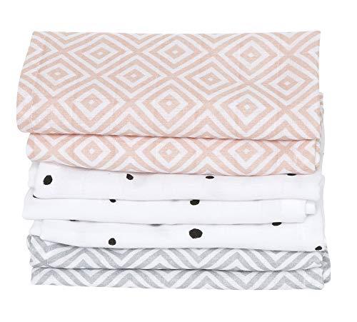 Baby Waschtücher aus Baumwoll-Musselin, Baby Waschlappen - (7 Stück), 30x30 cm, Öko-Tex Standard 100, Quadrate apricot
