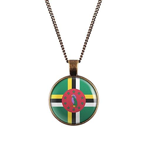 WeAreAwesome Dominica Flagge Halskette - Länderkette mit Fahne Anhänger Unisex Kette Antillen Karibik