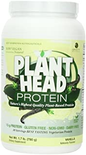 Genceutic Naturals Plant Head Protein Dietary Supplement, Vanilla, 23 Ounce