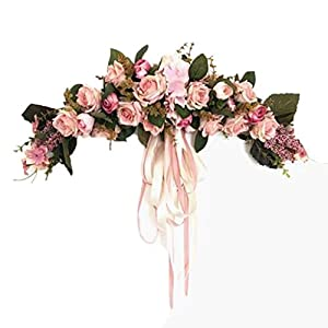 XIANWEI Artificial Rose Flower Swag, with Pink and White Roses, Green Leaves and Silk Ribbon Decor 65cm×12cm