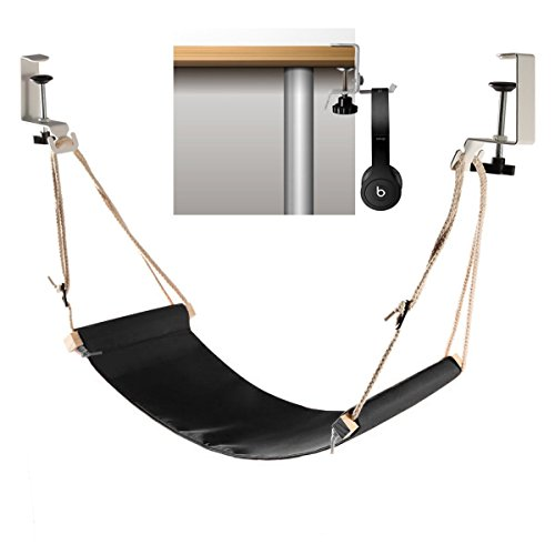 Foot Hammock Under Desk with Headphones Holder | Upgraded Adjustable Ergonomic Office feet Rest |New...