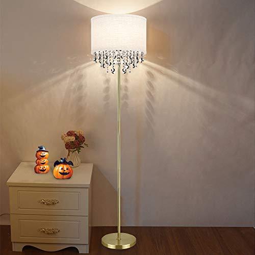 Depuley - Lámpara de pie LED G9 de cristal dorado, lámpara de pie moderna, luz blanca cálida E27 con base de 9 W, 720 lm, 3000 K, 100 – 240 V para sofá, dormitorio, comedor, estudio